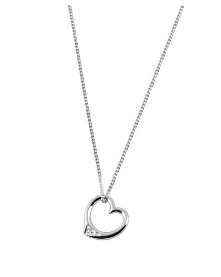 Sterling Silver Diamond Pendant with 40cm chain